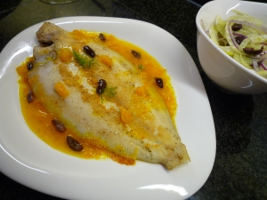 Lemon sole in orange sauce with fennel salad